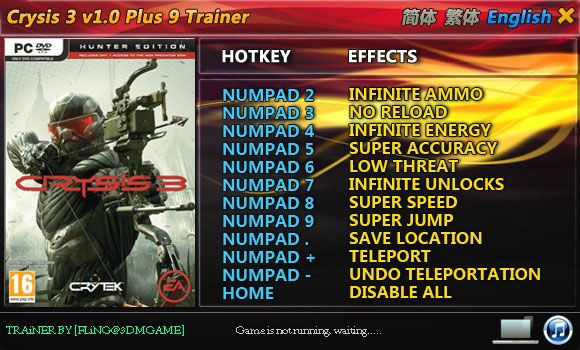 Crysis 3 +9 Trainer [FliNG]