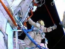 Flight Engineer Roman Romanenko&#39;s<br /> helmet camera captured this view of<br /> Flight Engineer Pavel Vinogradov<br /> during Friday&#39;s spacewalk.<br /> Credit: NASA TV<br /> <br />