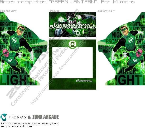 """Artes completos para la máquina recreativa arcade """"Green Lantern"""""""