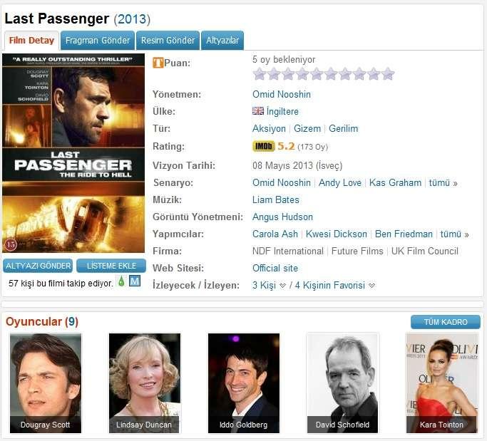 Last Passenger - 2013 DVDRip XviD - Türkçe Altyazılı Tek